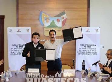 Firman convenio titular del IMSS y Gobernador