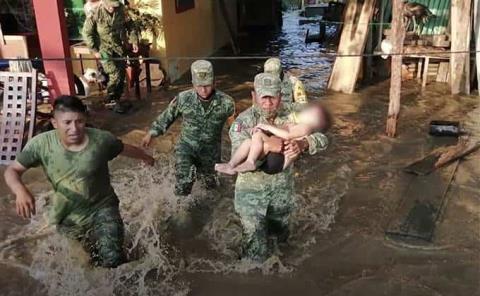 Militares rescatan a menor en Tabasco