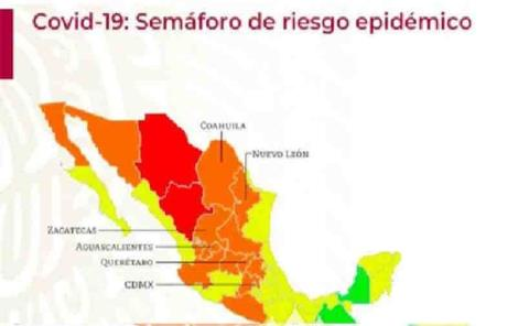 Solo dos estados  estarán en rojo