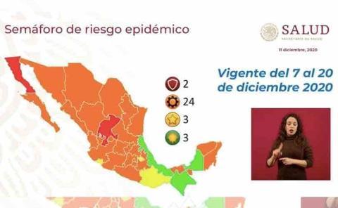 Dos estados siguen en rojo; 10 en alerta